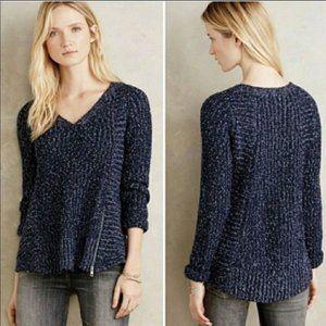 Moth Anthropologie Chunky Knit Zip V-neck Sweater